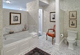damask wallpaper bathroom traditional with traditional master bath