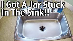 Unclogging A Kitchen Sink With A Disposal by I Got A Jar Stuck In The Sink Garbage Disposal Youtube