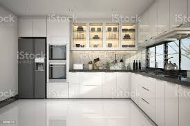Modern White Kitchen Interior 3d Rendering Stockfoto Und 3d Rendering Beautiful Modern White Kitchen With Marble Decor Stock Photo Image Now