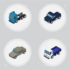 100 Auto Truck Transport Isometric Car Set Of Lorry And Other Vector Objects