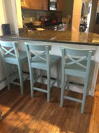 Counter Height Chairs With Backs by Ikea Counter Stools Painted With Annie Sloan Chalk Paint In Duck