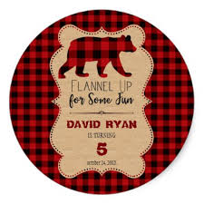 Red Buffalo Plaid Birthday Any Age Classic Round Sticker Rustic GiftsBoy GiftsPresent IdeasPaper PlatesRustic StyleParty