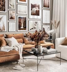 herbstliche bilderwand wohnzimmer dekoration naturposter schwarze metallrahmen
