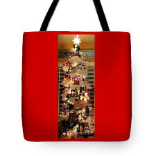 Christmas Tote Bag Featuring The Photograph Village Tree By Randall Weidner