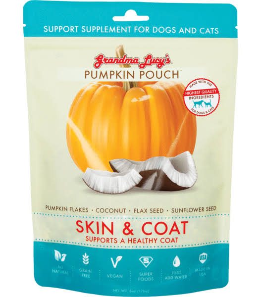 Grandma Lucy's Pumpkin Pouch Supplement Treats for Dogs & Cats Skin & Coat