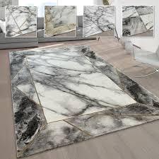 wohnzimmer teppiche grau gold weich marmor optik kurzflor mit vers designs