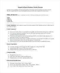 Sample Resume Objectives For Cse Freshers Summary Software Engineer Fresher