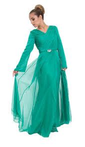 emerald green long sleeve silk modest muslim formal evening dress