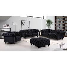 Tufted Velvet Sofa Furniture by Meridian Furniture 662bl S Chesterfield Tufted Black Velvet Sofa W