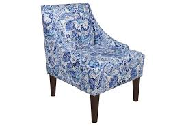 French Accent Chair Blue by Blue And White Swoop Arms Accent Chair With Unique Pattern