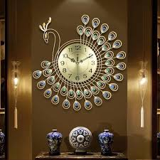 großhandel große 3d gold diamant pfau wanduhr metal uhr für heim wohnzimmer dekoration diy uhren handwerk verziert geschenk 53x53cm y200109