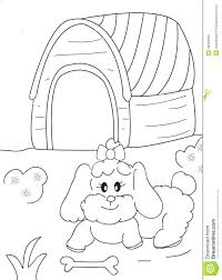 Snoopy Dog House Coloring Page Hand Drawn Female Bone Doghouse Cartoon Pretty Playing Sitting Sheet Printable