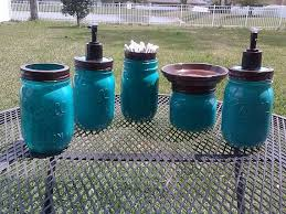 Teal Brown Bathroom Decor by Ball Mason Jar Bathroom Set Turquoise Blue And Brown Full Bathroom