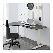 bekant corner desk left sit stand black brown white ikea