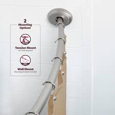 Walmart Tension Curtain Rods by Bath Bliss Curved Shower Rod Satin Nickel Finish Walmart Com