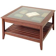 The Most Glass Top Display Coffee Table Square Manchester Wood Within Prepare