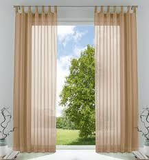 2er pack gardinen transparent vorhang set wohnzimmer voile schlaufenschal mit bleibandabschluß hxb 225x140 cm sand 61000cn