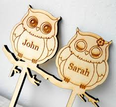 Owls Wedding Cake Topper Personalized Wooden Custom Rustic Decoration