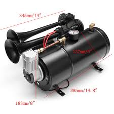 US $141.42 12% OFF|150db Truck Train Quad 4 Trumpet Air Horn Kit Black 170  PSI DC12V 3 Liters Air Compressor & House-in Multi-tone & Claxon Horns From  ... Train Horn Wikipedia Buy Horn For Truck 150 Db 12v Air Solenoid In Cheap 12 And 24 Volt 4 Trumpet Air Loudest Kleinn 159db Quick Sample Of A Actual Train Horn On Fire Truck Somewhere In The United States America Best Train Horns Cars Amazoncom Finally Working On Dodge Diesel Kleinn Hk1 Dual Kit Kits One Big Cummins Complete With Dual Stacks 22in Wheels 1006 16 3horn 150psi Compressor 3gal Tank All Hdware Shown Horns Abs 220