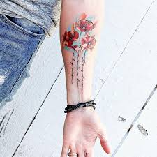 Poppy Tattoo With My Kids Names In The Stems