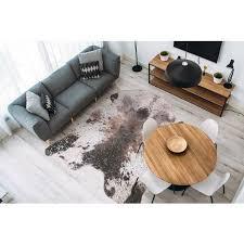 teppich fell tierfell optik creme braun silber wohnzimmer 160x220cm