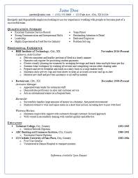 Resume Restuarant Server Examples