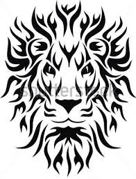 Tribal Ink Lion Tattoo Design On Paper