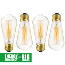 4 pack edison bulb 60 watt st64 squirrel cage filament