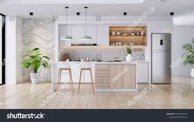 Modern White Kitchen Interior 3d Rendering Stockfoto Und Moderne Moderne Kücheneinrichtung Weiß Und Holzmaterial