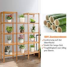 costway pflanzenregal bambus standregal mit 5 ebenen raumteiler bücherregal badezimmerregal bambusregal treppenregal stufenregal für badezimmer