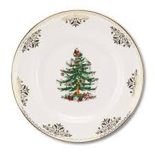 Christmas Tree Gold Dinner Plate Set Of 4