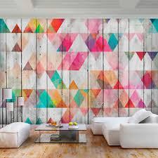 details zu vlies fototapete geometrisch holz modern bunt grau rosa tapete wandbilder 70
