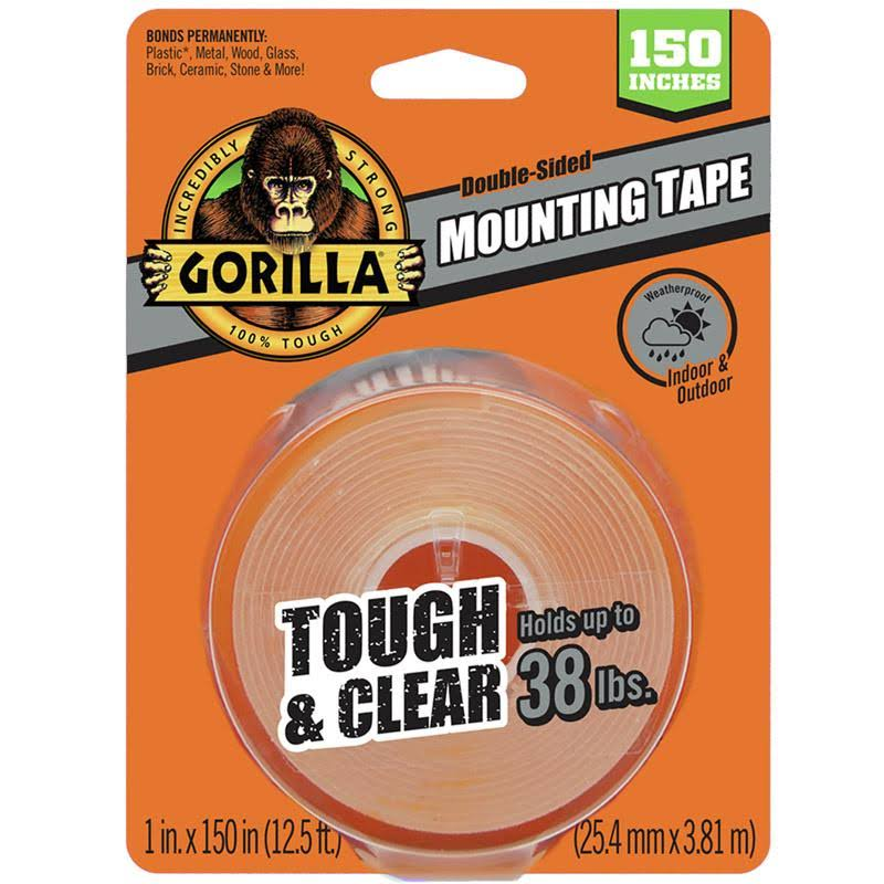 Gorilla 1 in. W x 150 in. L Mounting Tape Clear