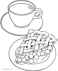 Tea And Apple Pie Coloring Sheet For Children