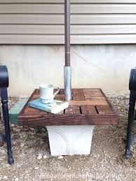 diy umbrella stand with side table diy how to outdoor furniture