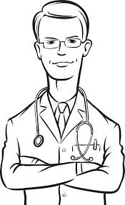 Whiteboard Drawing Doctor Arms Crossed Stock Vector