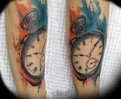 Watercolor Clock Tattoo On Legs For Male
