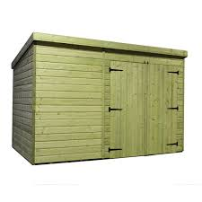 10 x 6 windowless pressure treated tongue and groove pent shed