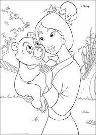 Princess Mulan Holding A Baby Panda Coloring Page