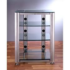 4 Shelf Glass Audio Cabinet Rack HGR404X Regarding With Doors Idea