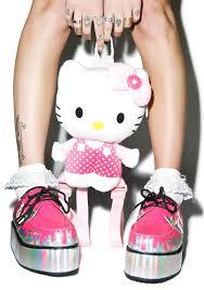 t u k pretty pink paint bucket hello kitty creepers dolls kill