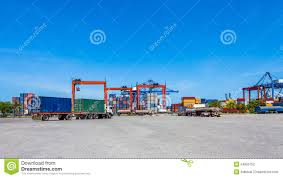 Landscape Of Truck, Containers And Crane At Trade Port Stock Photo ...