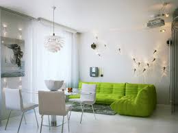 Innovative Lighting Design In Addition To Terrific Green Living Room Sofa Feat White Dining Chairs And