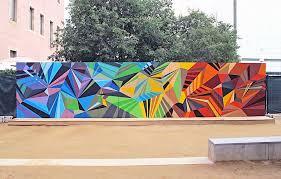 Famous Spanish Mural Artists by Geometric Graffiti Murals