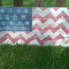 Rustic Chevron American Flag Wood Sign Distressed Pallet USA