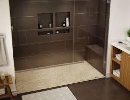 dusche sitzbank gemauert dusche dunkelbraun mosaikfliesen