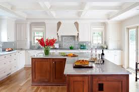 L Shaped Kitchen Island Traditional With 2 Sinks Coffered Beam Image By JACK ROSEN CUSTOM KITCHENS