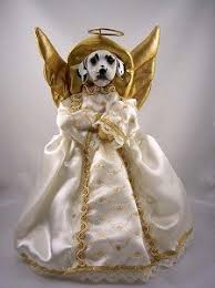 Dalmatian Angel Christmas Tree Topper Angelic Toppers Are Made Of Silk Clothing With Gold Trim Lace Lightweight Heads