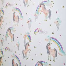 Arthouse Rainbow Unicorn Pattern Childrens Wallpaper Glitter Pony Heart Motif 696109