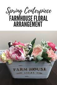 Flower Arrangement Box With Spring Flowers And Farmhouse Tin Perfect For A Table Centerpiece